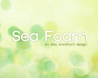 SALE - Etsy Banner Storefront Design - 10 Piece OOAK Premade Set - Yellow Green Bokeh - Sea Foam