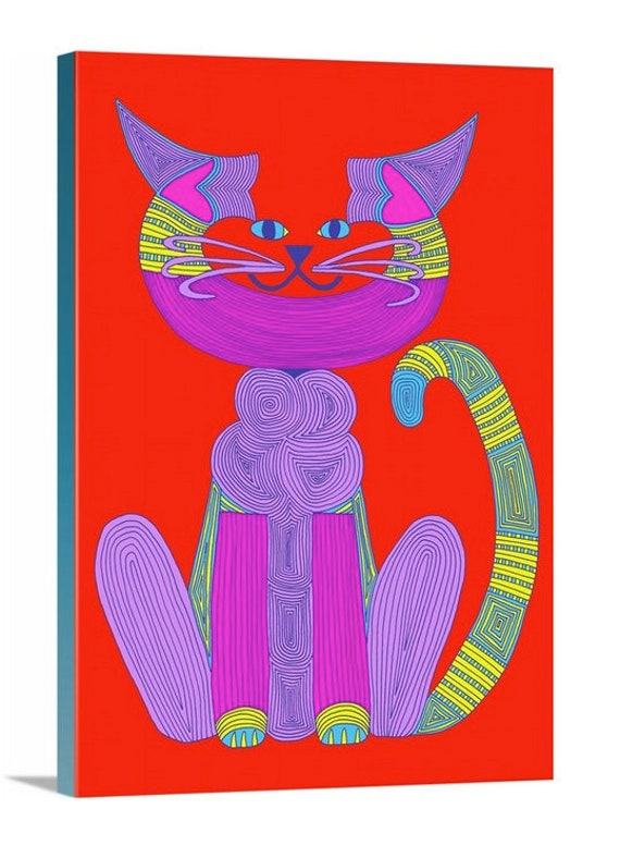 Purple C-Cat Cat art Canvas Giclee by beckyzimm design Warhol C-Cat Artist Cat