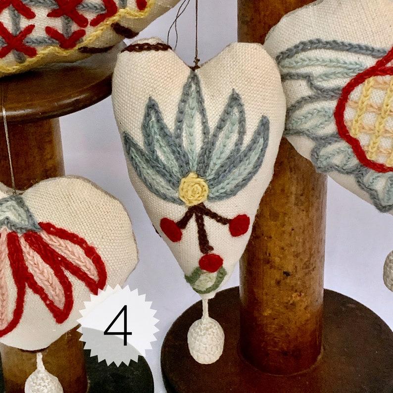 Whimsical Vintage Jacobean Crewel Ornaments ~choose between UnscentedHoliday Lavender ~ Gift Idea