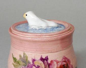Bird Jar with Roses and Mums