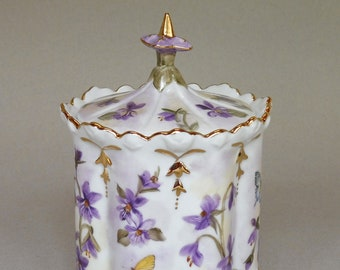 Purple Violet and Butterfly Canister