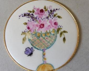 Pink Rose Disk Necklace