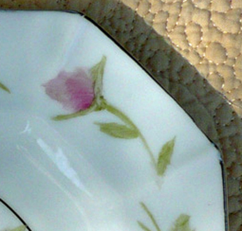 Pink and Yellow Hand Painted Roses on a Porcelain Square Plate one only