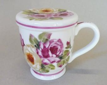 Pink and Yellow Rose Tea Strainer Mugs