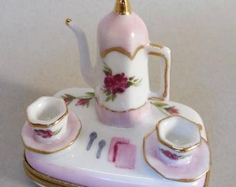 Pink Rose Tea Set Box