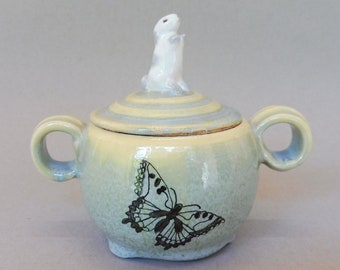 Butterfly and Bunny Sugar Jar