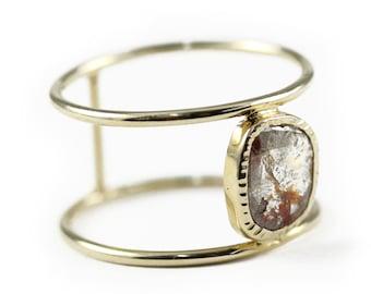 Diamond Slice Ring Etsy