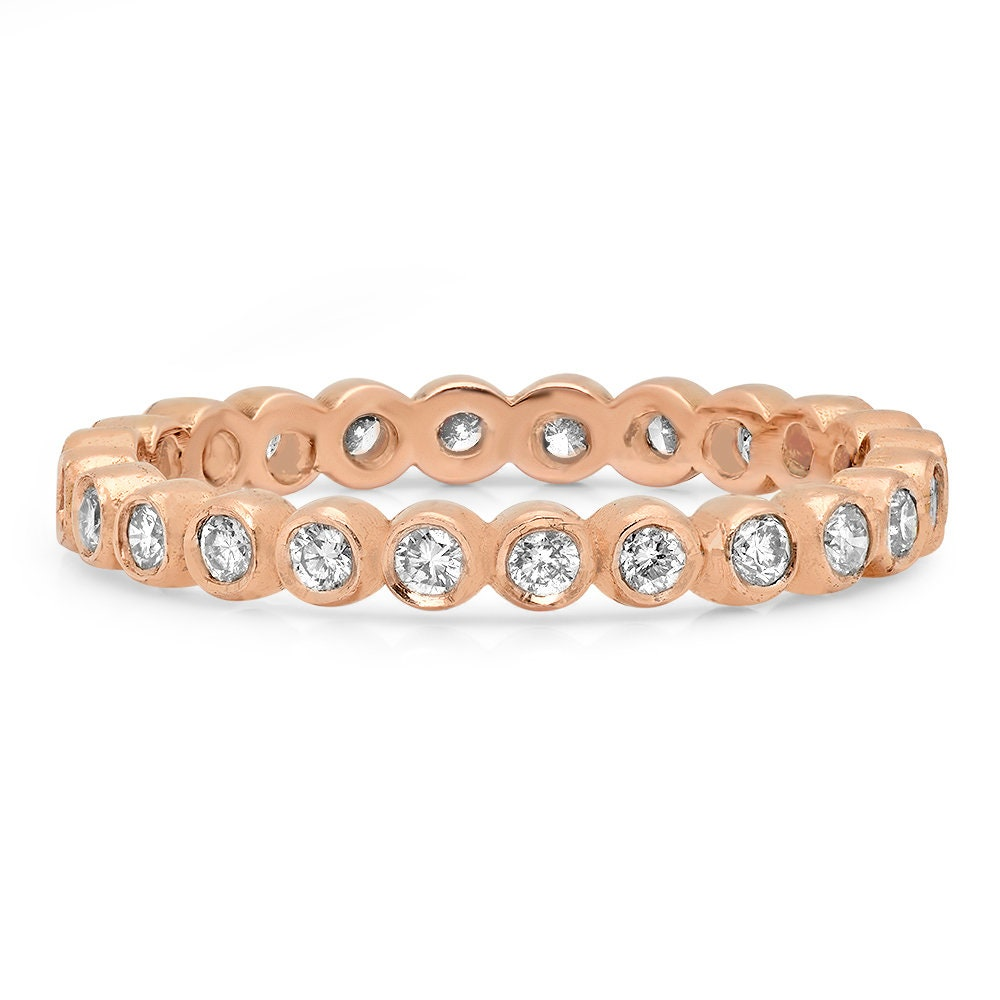 Eternity Ring Wedding Set: Bezel Set Ring Eternity Style Ring Diamond Band Wedding