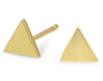 14K Gold Small  Triangle Stud Earrings, Cartilage Earring,Second Piercing Earring,  Mothers Day Personalized Gift.