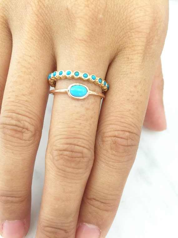 14k solide or jaune 5 mm cabochon NATURELLES Sleeping Beauty Turquoise Ring Taille 7