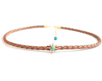 Star Bolo Leather Choker, Braided Leather Choker, Turquoise Jewelry, Gold Star Necklace, Boho Jewelry, 14K Gold Choker, Adjustable choker.