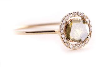 Diamond Slice  Ring, Yellow 14K Gold Ring, Engagement Ring, Modern Engagement Ring, Rose Cut Diamond, Diamond Slice, Green Diamond.