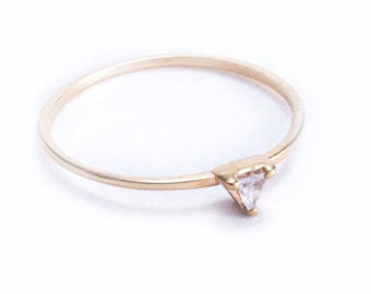 14K Gold Trillion Diamond Ring, Prong Set Diamond Ring, Petite Stacking Ring, Unique Engagement Ring, Available for Wholesale