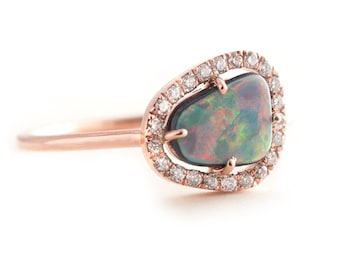 Opal Ring, Gold Opal Ring, Black Opal, Rose Gold Ring, Pave Ring, Diamonds Pave Ring, Engagement Ring