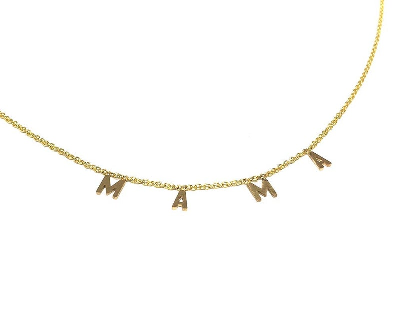 Personalized Gift Personalize Necklace Initial Letter 14K Gold Necklace Words Jewelry. Solid Gold initials Charm Necklace,Name Necklace