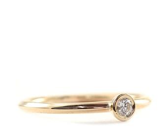 Engagement Ring, 3mm Diamond Ring, Diamond Ring, white Diamond Ring, 14K Gold  Diamond Ring, Tula Jewelry.