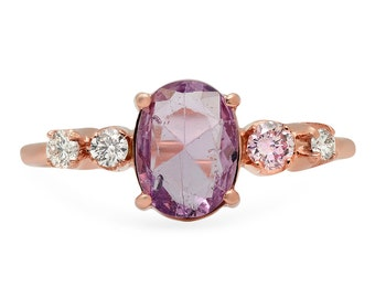 Pink Sapphire Ring, Sapphire and Diamond Ring, Engagement Ring, 14K Rose Gold Ring.