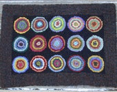 Primitive Antique Penny Rug Hooking Kit with cut wool fabric strips by Sharon Perry FREE DOMESTIC SHIPPING