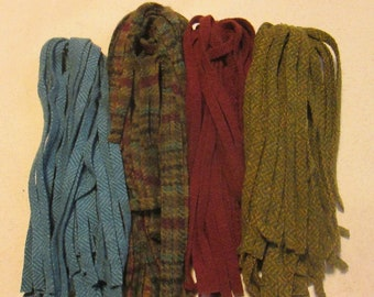 100 #8 Plaid with Matching Colors Rug hooking or punch needle wool fabric strips