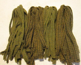 100 #8 Mossy Green Herring Bone and Hounds Tooth  Rug hooking or punch needle wool fabric strips