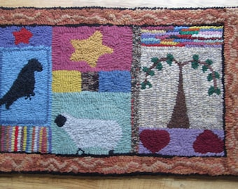 Primitive Country Sampler Large Original Design Hand Hooked Rug by Sharon Perry