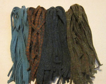 100 #8 Copper, blues and browns  Rug hooking or punch needle wool fabric strips