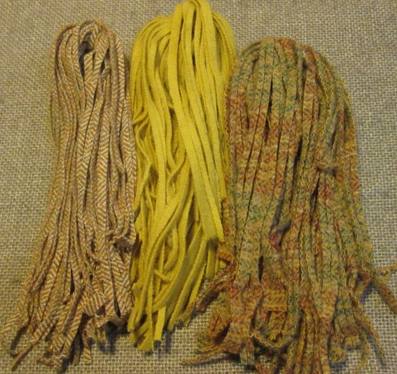 #6 Naturals /& Oatmeal 150 Wool Strips for Primitive Rug Hooking or Punch Needle