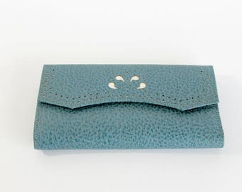 Vintage Princess Gardner Wallet Checkbook Clutch Blue Leather Fashion Accessory Mid Century