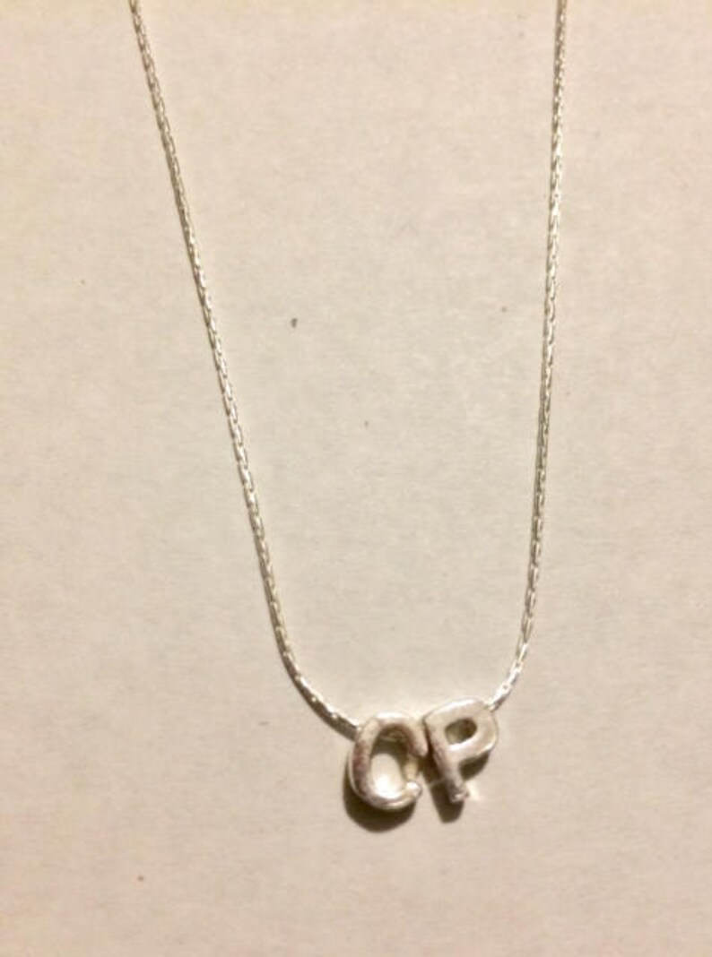 0d9ad75de 100% Sterling Silver Two Initial Necklace Silver Initial | Etsy