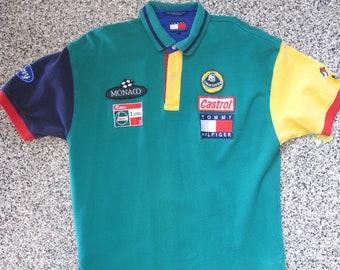 RARE Vintage Vtg 90s Tommy Hilfiger Lotus Racing Polo w  Patches sz M EUC 38ecf479960d
