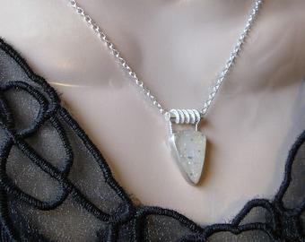 Dalmatian Druzy Necklace- Silver, Metal Work