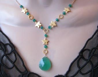 Green Onyx Drop Necklace- Stars, Gold Filled