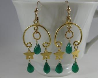 Green Onyx Earrings- Stars, Gold Filled, Chandelier