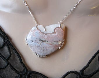 Crazy Lace Agate- Necklace with Druzy in Silver- Metalwork