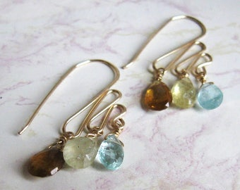 Apatite Garnet Earrings- Gold Filled, Hammered Wire, Trio of Gemstones
