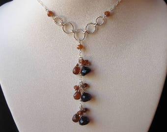 Amethyst Drop Necklace- Hessonite Garnet, Gemstone Cluster, Silver