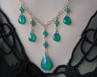 Green Onyx Necklace- Bib design Gold Filled or Silver