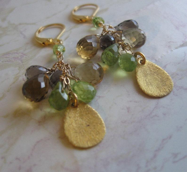 Gold Filled Quartz Cluster Earrings- Peridot Smoky Quartz Beer Quartz