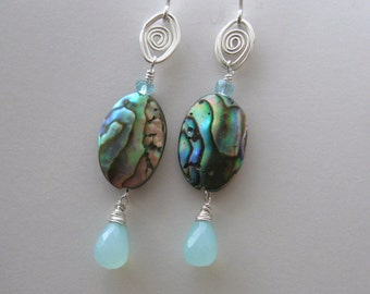 Silver Abalone Earrings with Chalcedony & Apatite- Wire Wrapped, Hammered Wire Gemstone Earrings