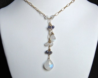 Moonstone Drop Necklace- Gold Filled with Iolite