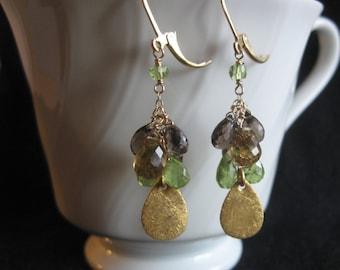 Quartz Cluster Earrings- Peridot, Smoky Quartz, Beer Quartz, Gold Filled