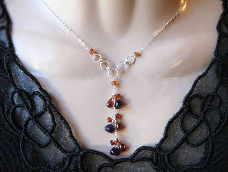 Amethyst Drop Necklace Gemstone Cluster Hessonite Garnet Silver