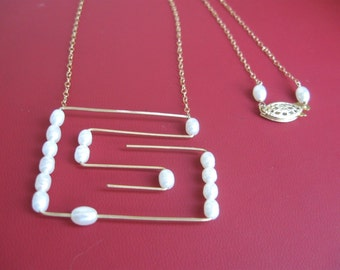 Geometric Pearl Necklace- Gold Filled, Hammer Wire, Maze Design