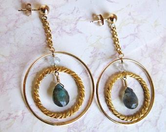 Labradorite Hoop Earrings- Aquamarine, Gold Filled