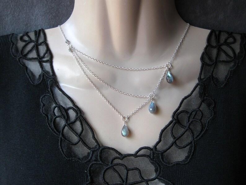 Silver Labradorite Necklace with a Trio of Gemstones