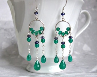 Dream Catcher Earrings- Green Onyx, Iolite, Silver