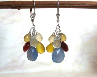 Multi Chalcedony Earrings- Multicolor, Gemstone Cluster