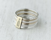 9 Stack Silver & Gold Twist and Turn rings