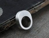 Hollow Oval chunky silver ring
