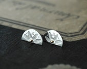 Silver Half Moon Cleopatra studs with 14kt gold or silver beads